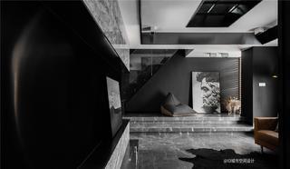黑色调现代简约风地台装修效果图