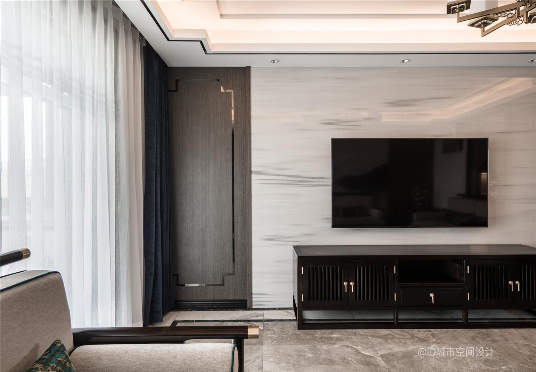 新中式风三居室电视背景墙装修效果图