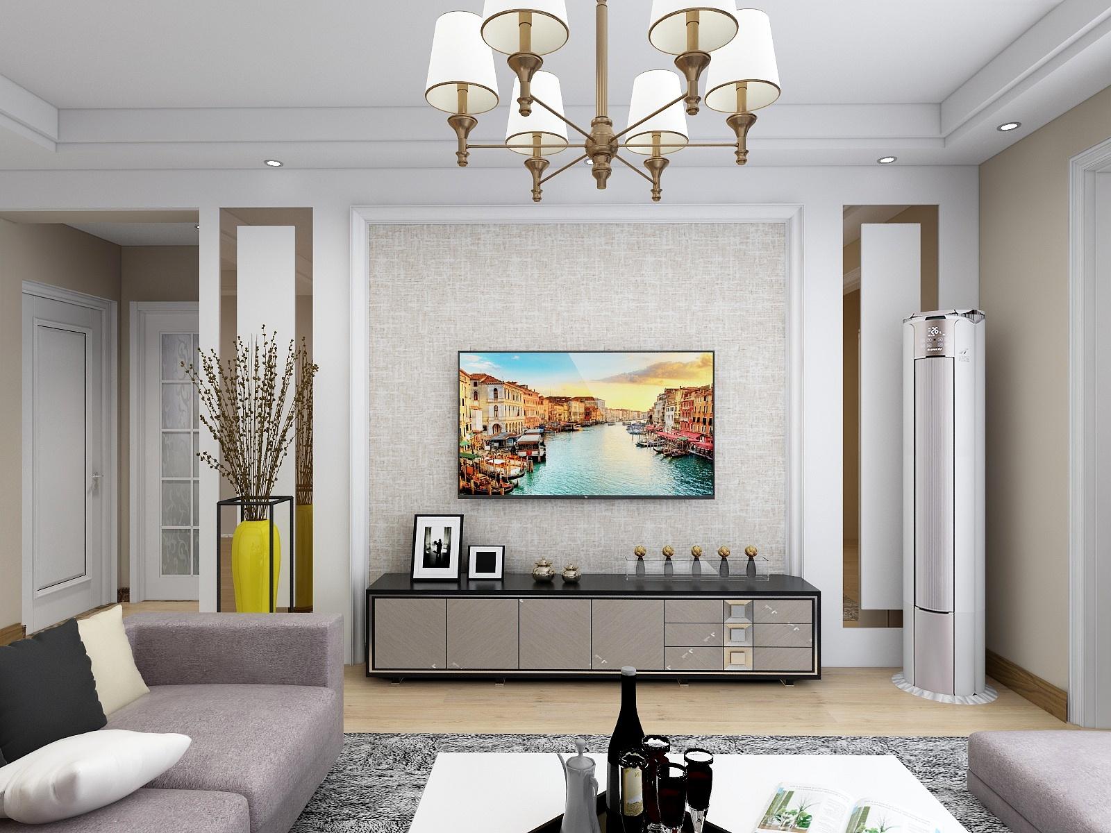 现代混搭二居室电视背景墙装修效果图