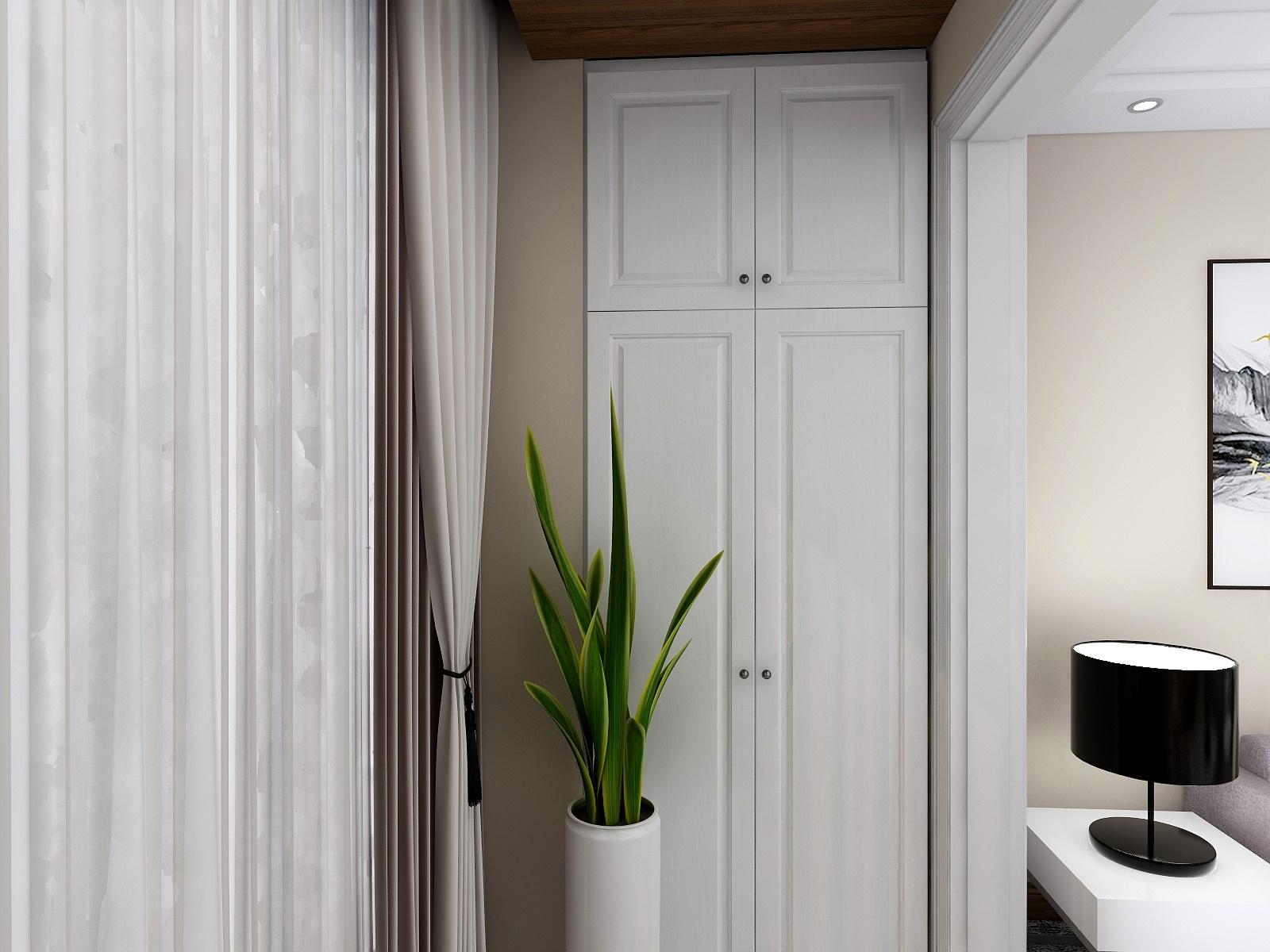 现代混搭二居室阳台储物柜装修效果图