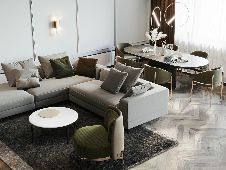140㎡简约轻奢风装修沙发设计图
