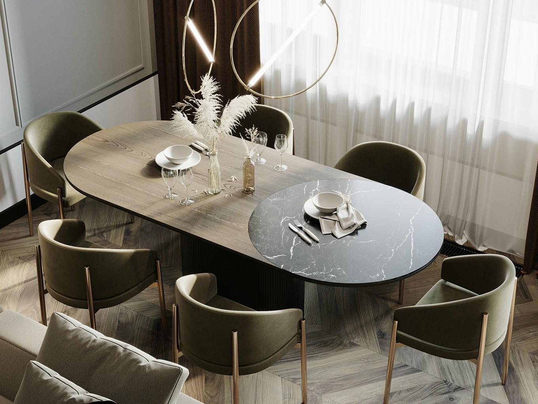 140㎡简约轻奢风装修餐桌椅设计图