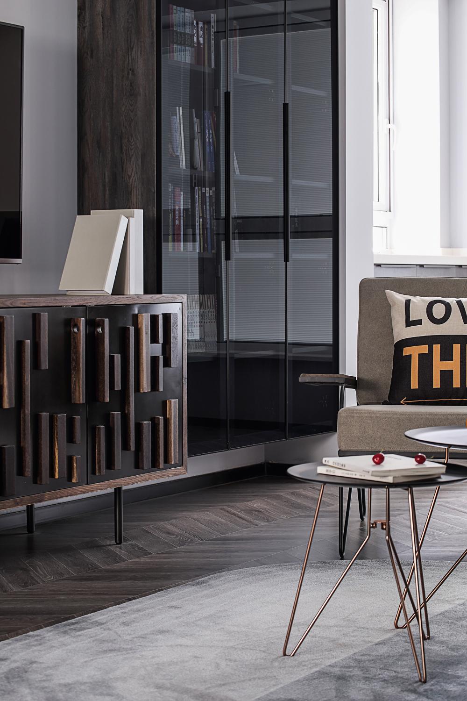 88平现代简约两居装修书柜设计图