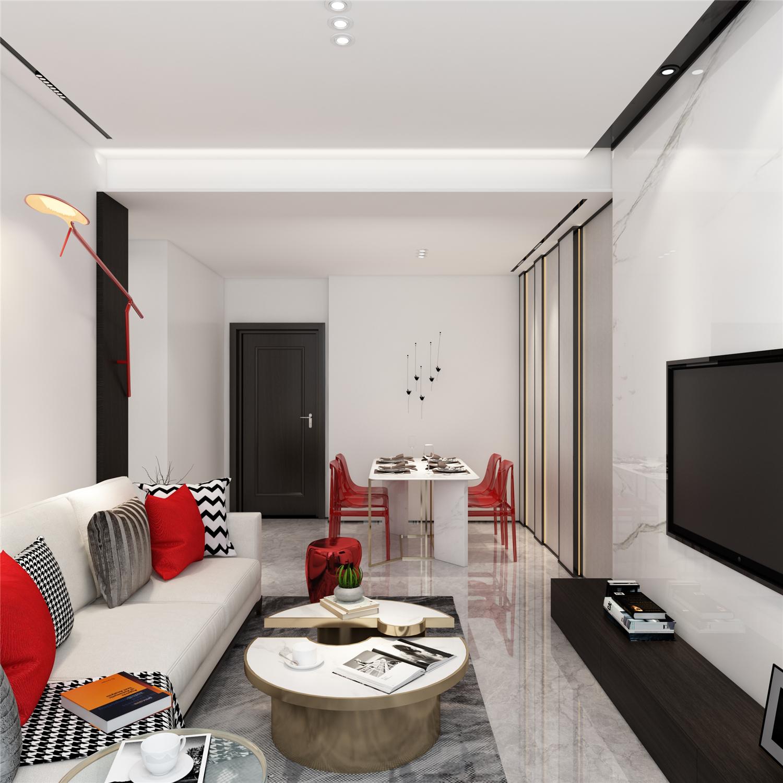 80㎡现代简约客厅装修效果图