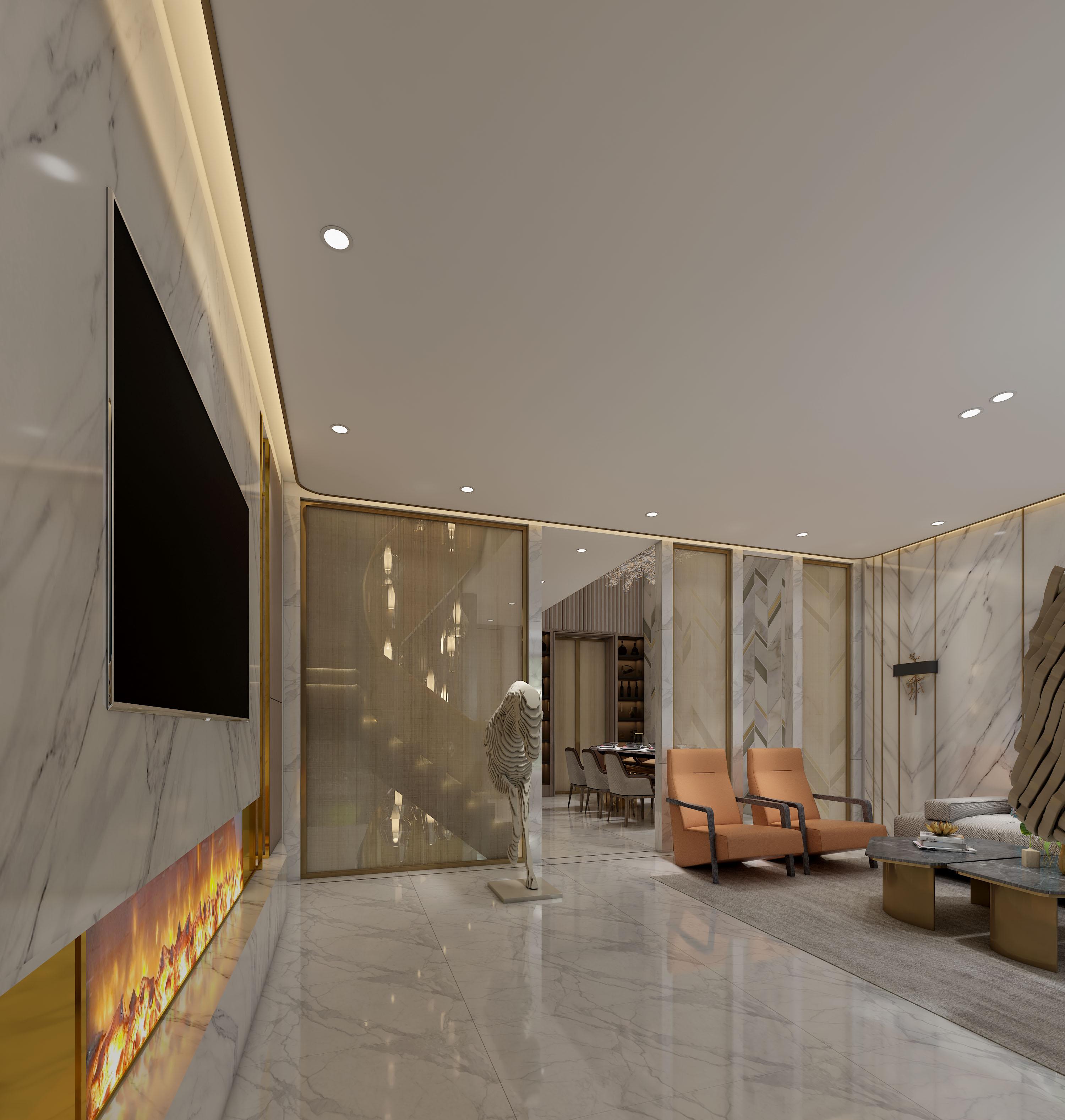 现代轻奢别墅客厅吊顶装修效果图