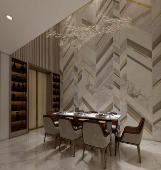 现代轻奢别墅餐厅装修效果图