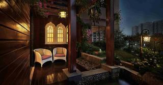 大户型美式混搭风阳台花园装修效果图
