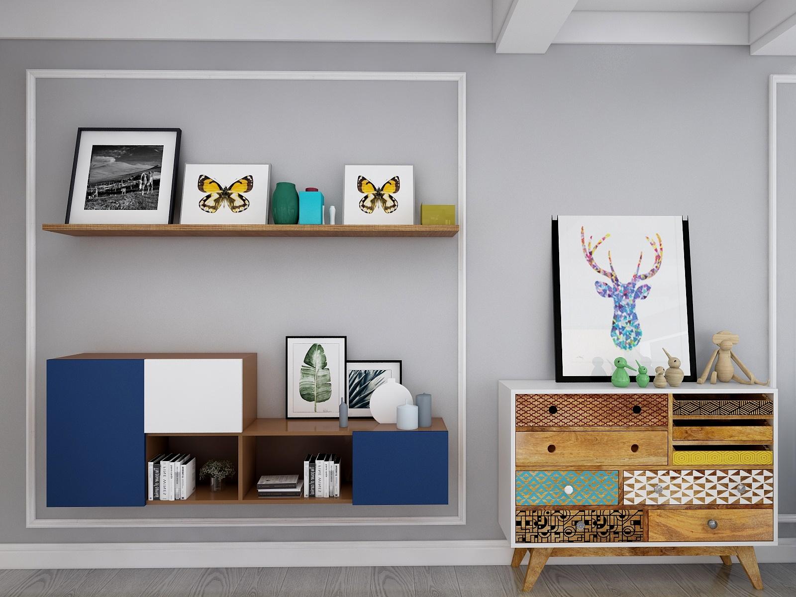 北欧风格三居室装修壁柜设计图