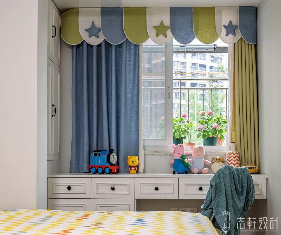 美式田园三居装修儿童房窗帘设计