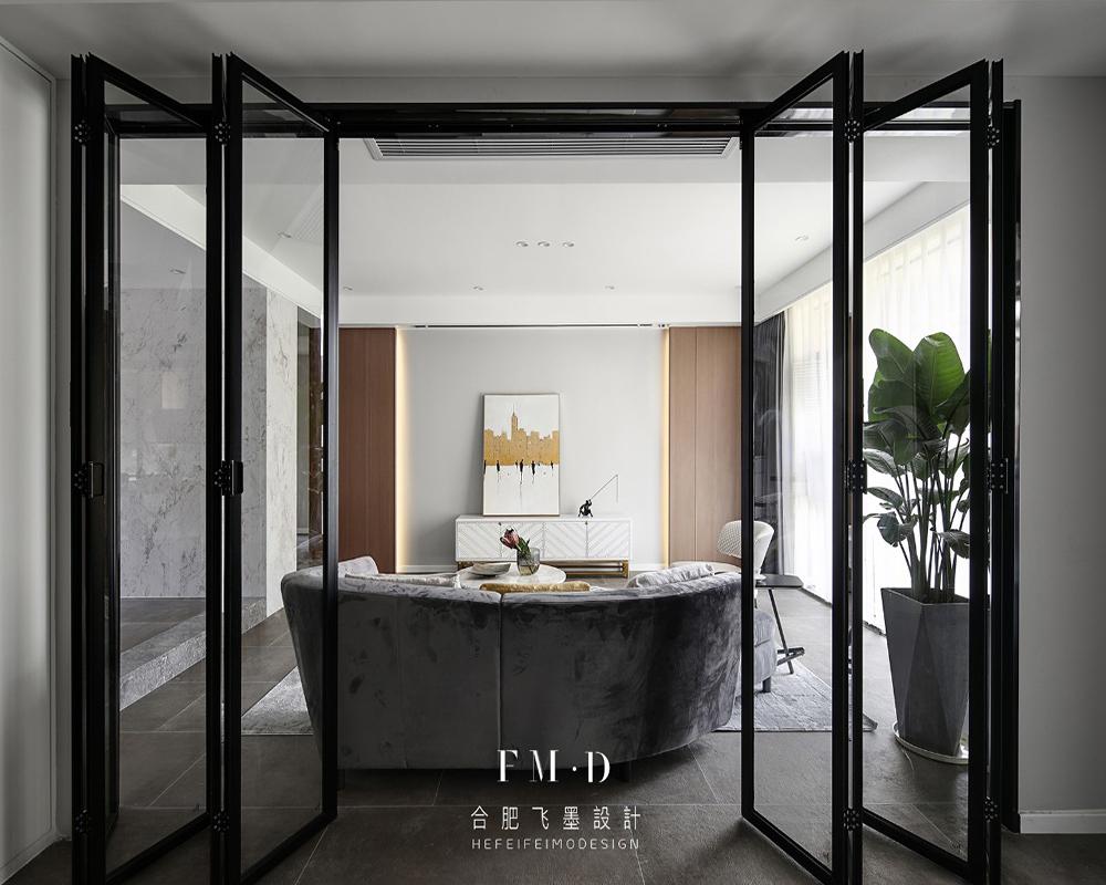 130㎡现代简约风格装修折叠玻璃门设计