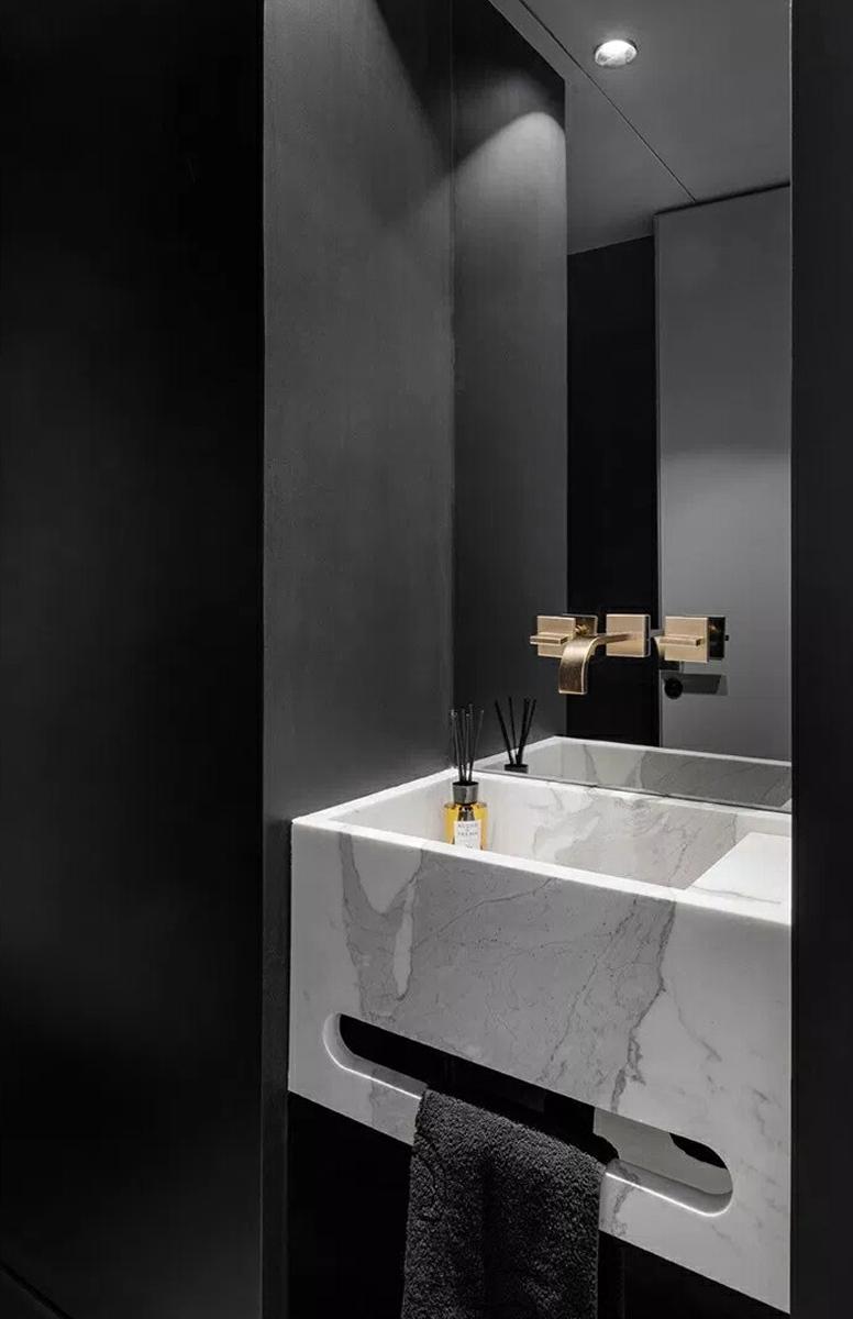 大户型黑白灰现代简约洗手台装修效果图