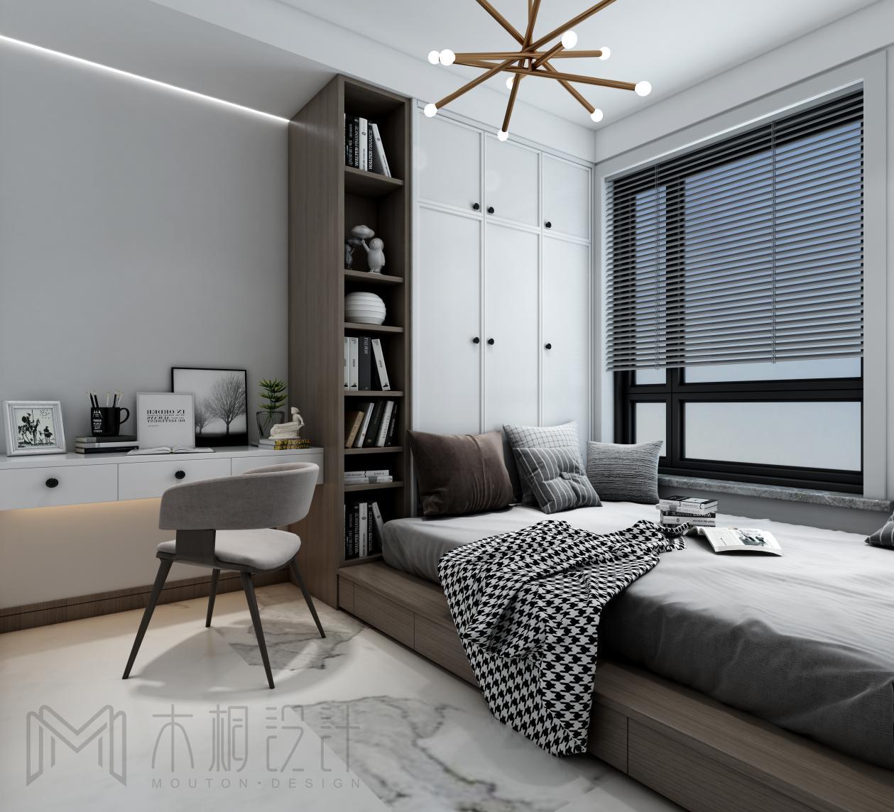 北欧现代二居榻榻米卧室装修效果图
