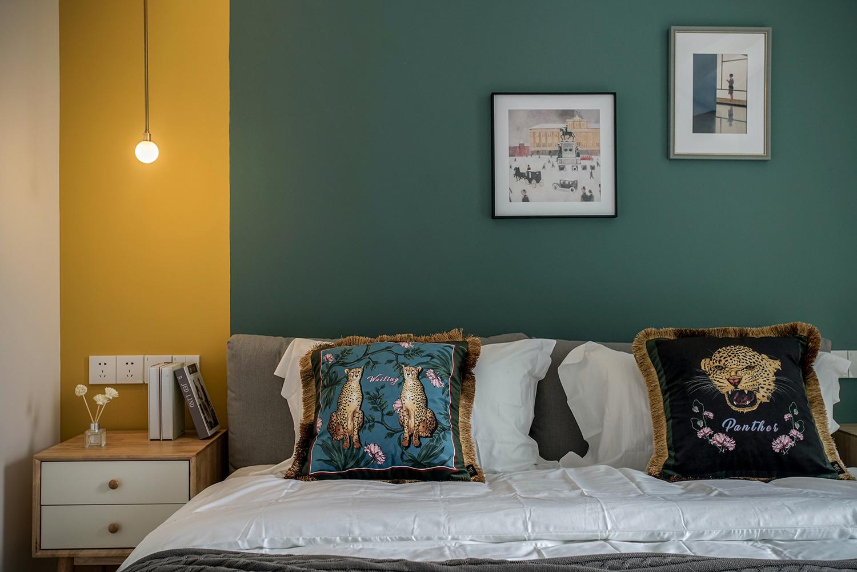 北欧风格三居卧室背景墙装修效果图