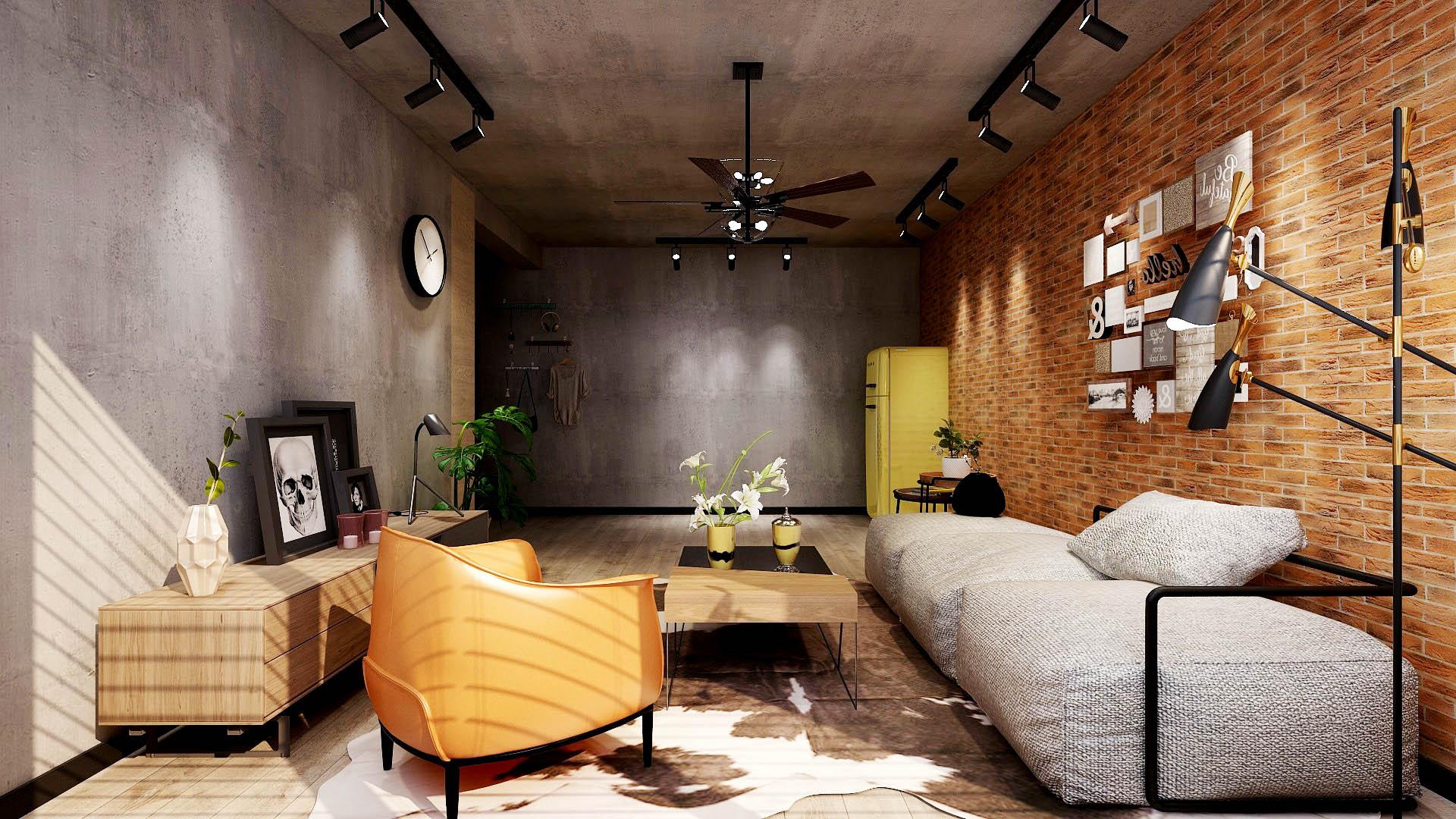 工业风格两居室客厅装修效果图
