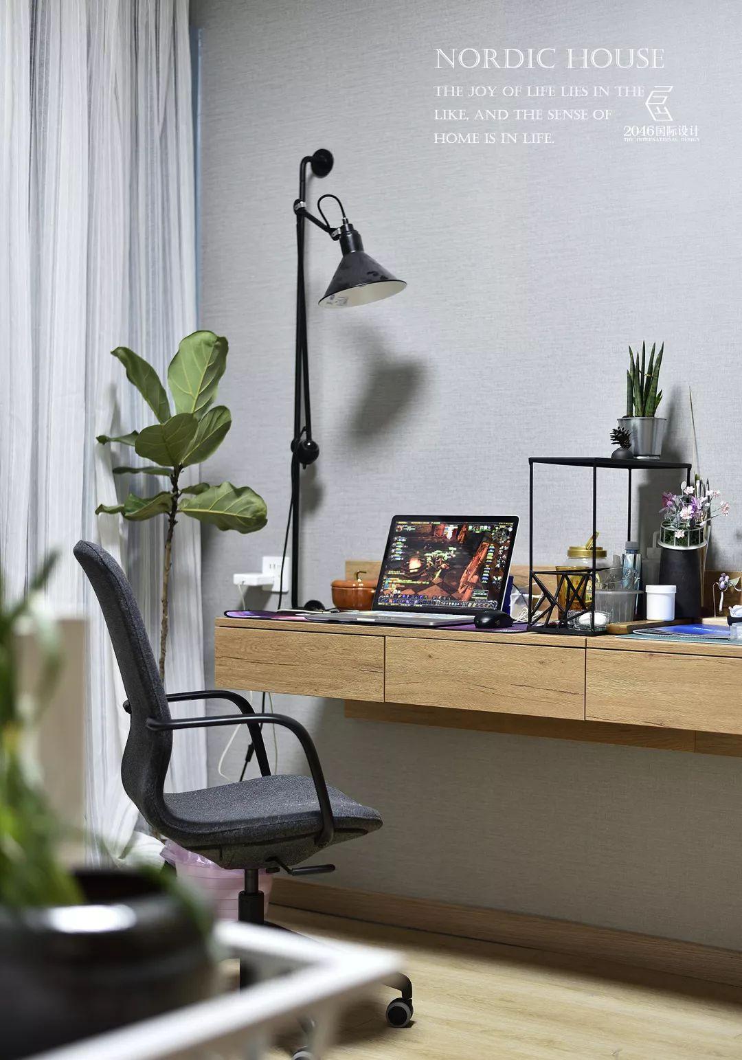 130平北欧风格装修书桌设计图