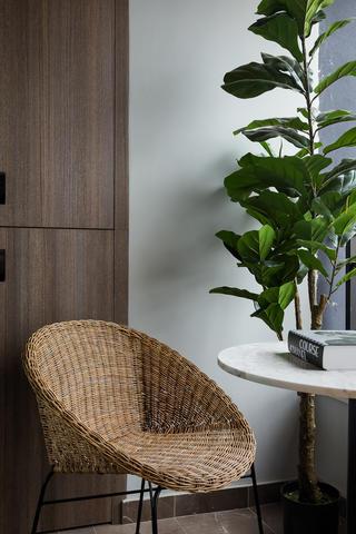 三居室现代混搭风装修藤编椅设计