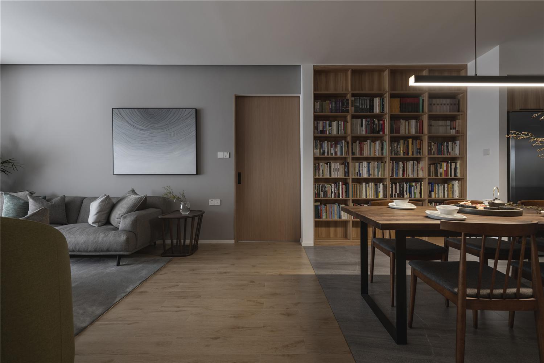 140㎡现代风餐厅书架墙装修效果图