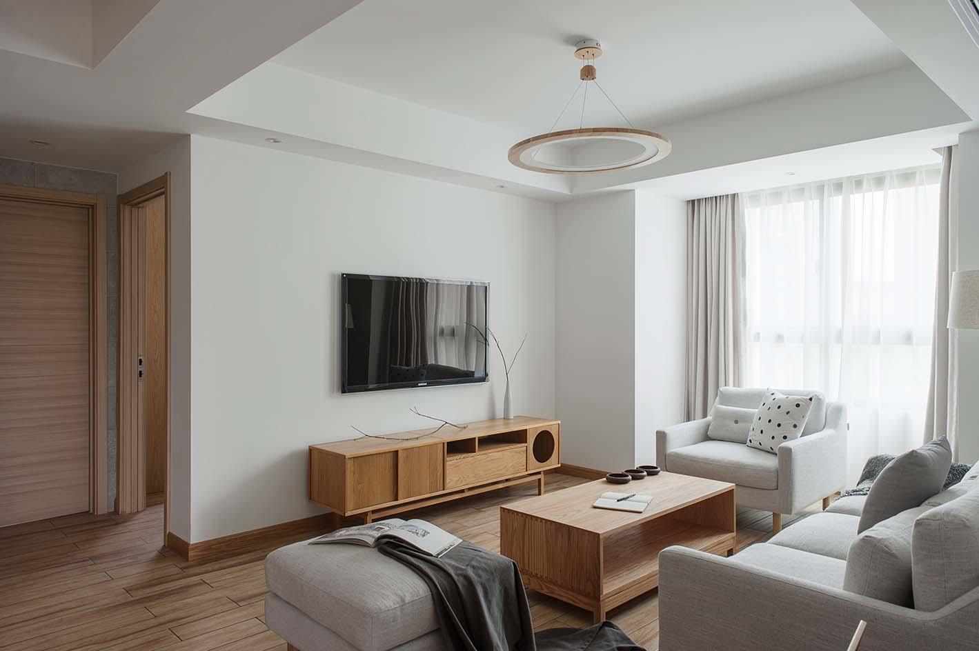 日式风格四居室电视背景墙装修效果图