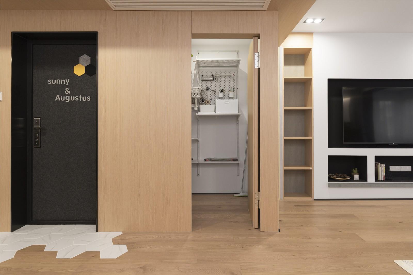 北欧风格两居室隐形门装修效果图