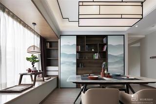 三居室现代中式风餐厅装修效果图