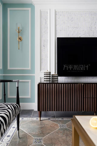 124㎡美式四居装修电视柜设计
