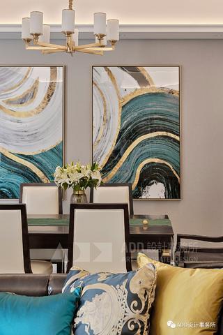 大户型现代美式装修餐厅挂画设计