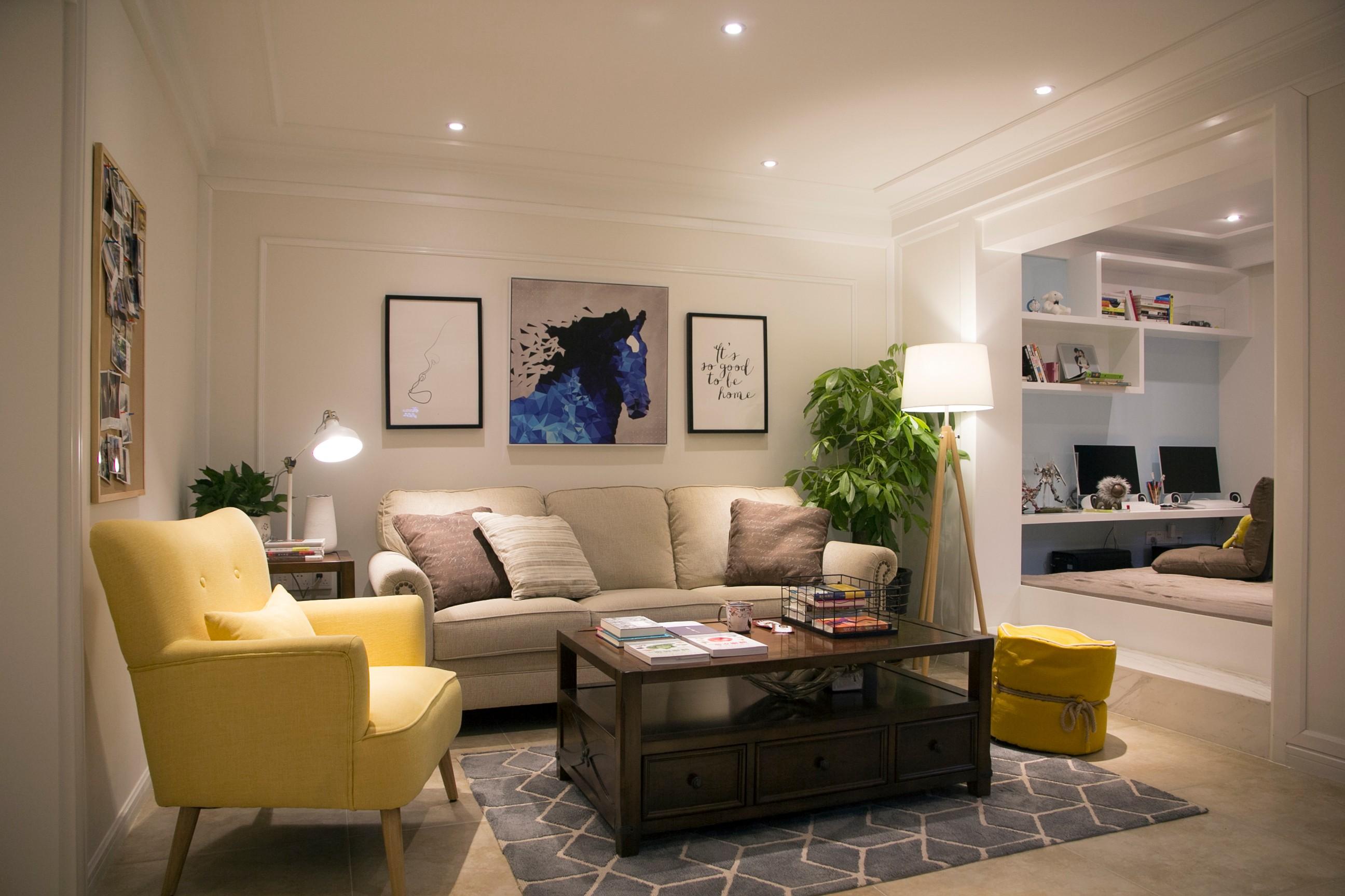 82平美式风格客厅装修效果图