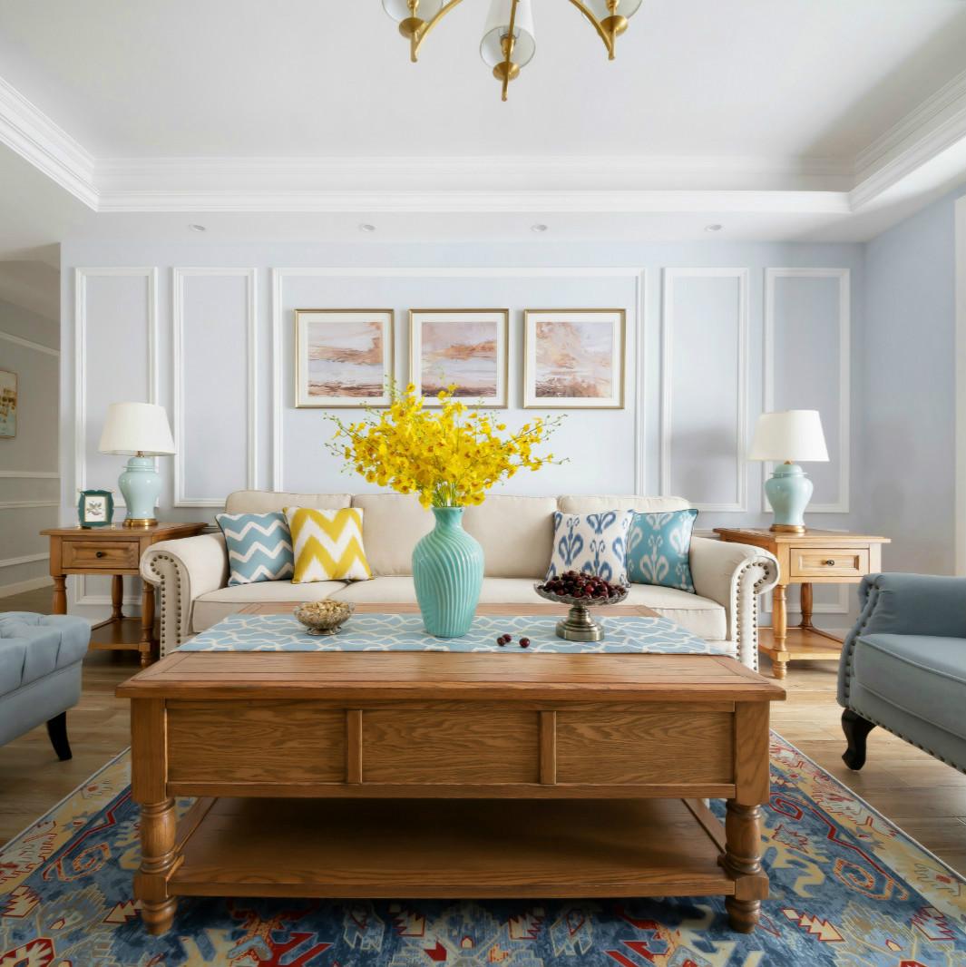 145㎡现代简美风沙发背景墙装修效果图