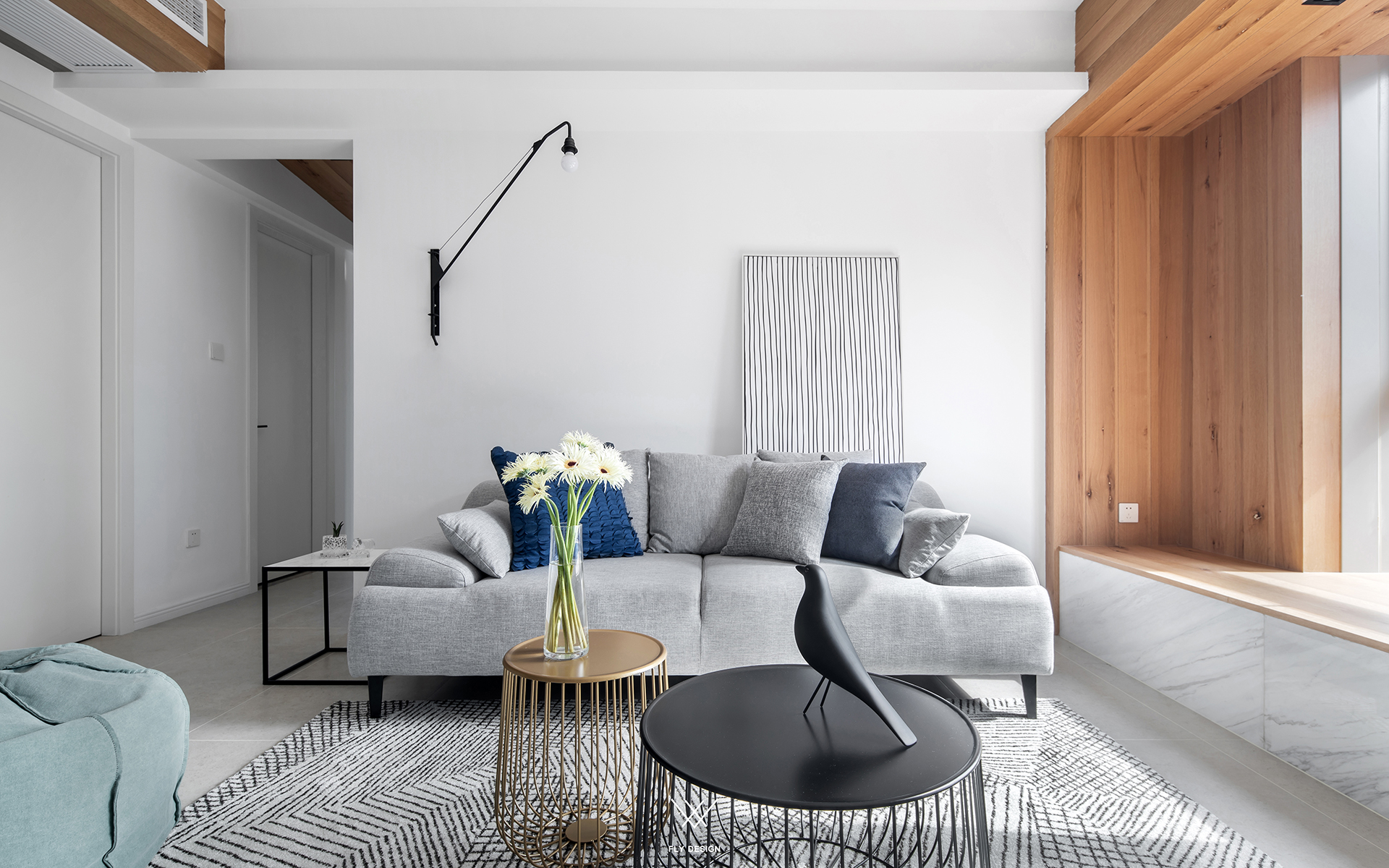 北欧休闲风两居沙发背景墙装修效果图