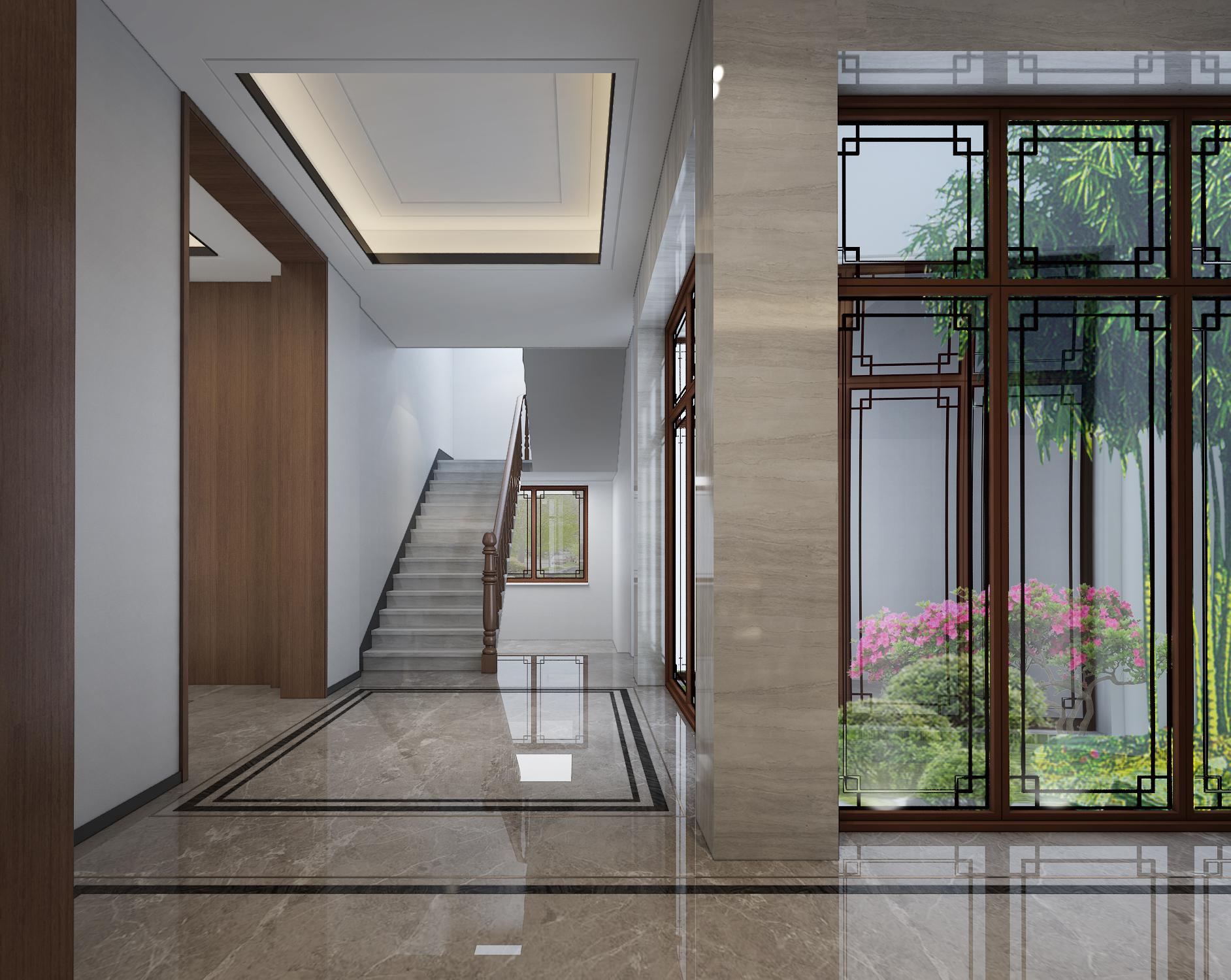 新中式风格别墅楼梯过道装修效果图