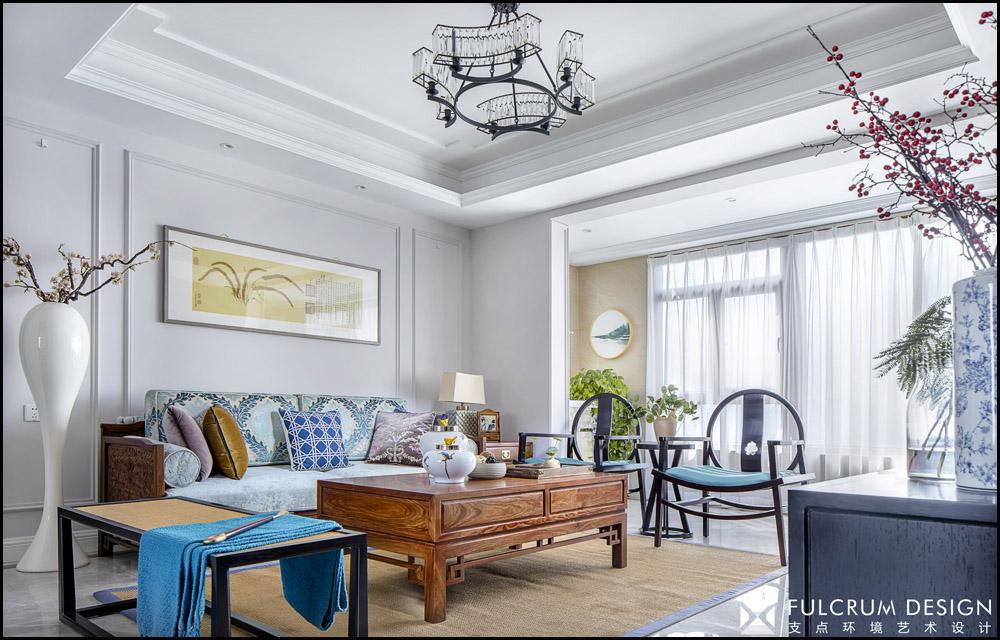 180平新中式风格沙发背景墙装修效果图