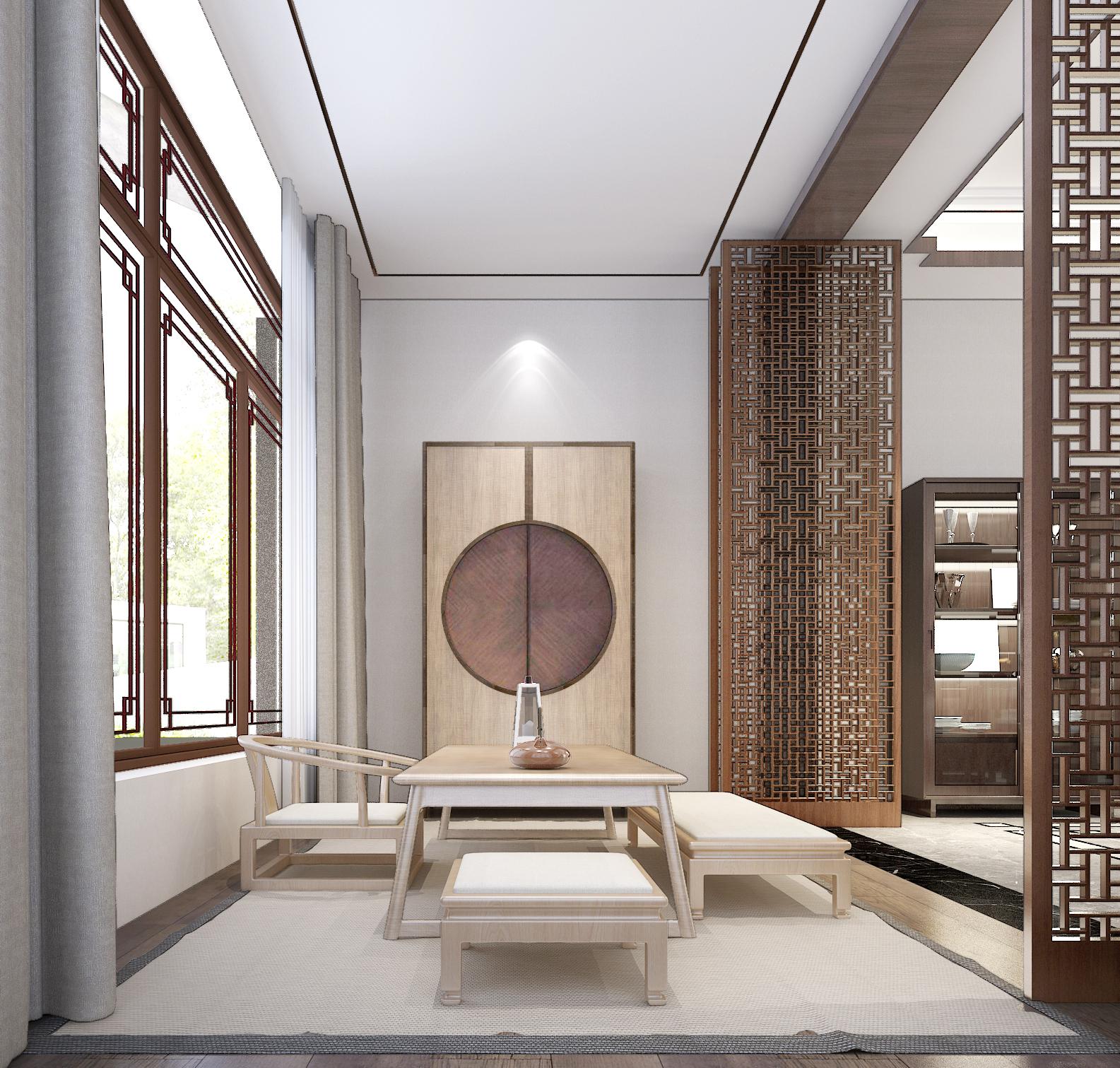 现代中式别墅茶室装修效果图