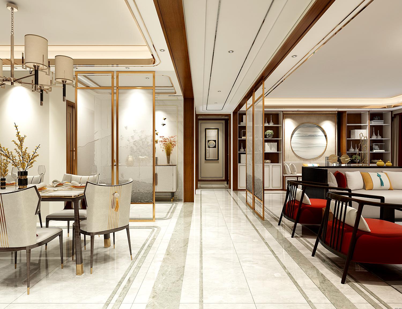 轻奢新中式客餐厅过道装修设计效果图