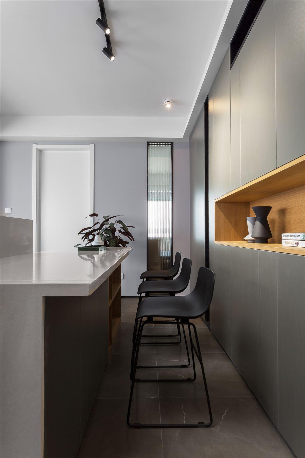 90㎡现代简约两居吧台装修效果图