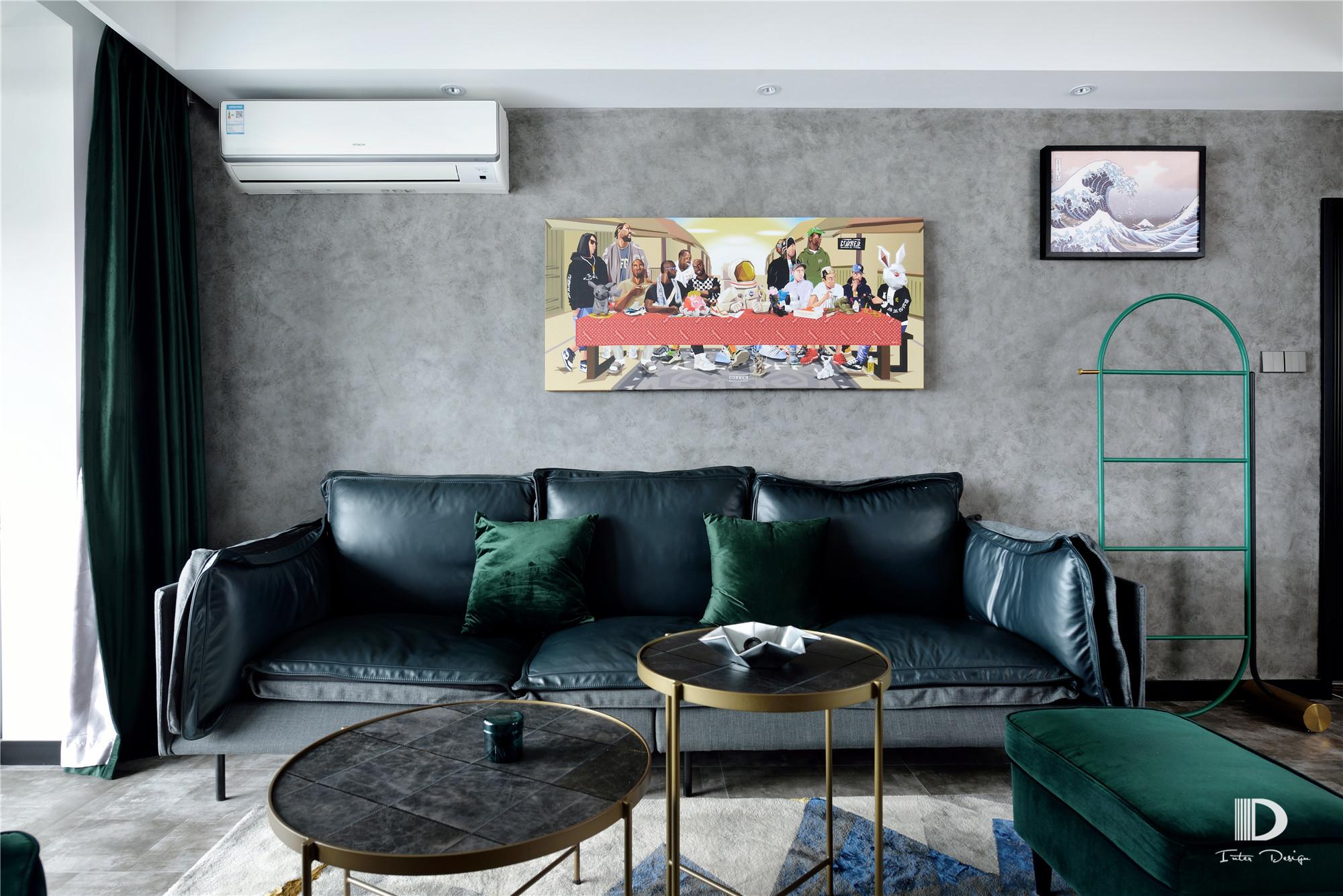 130㎡现代工业风沙发背景墙装修效果图