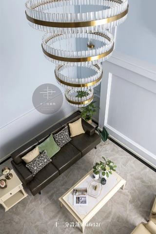 美式混搭风别墅装修客厅吊灯设计图