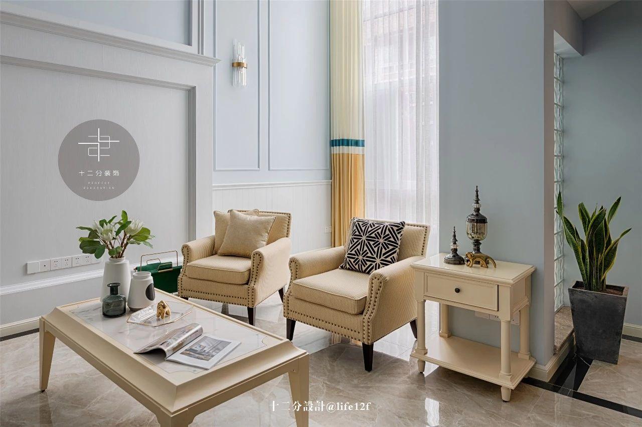 美式混搭风别墅装修茶几沙发设计图