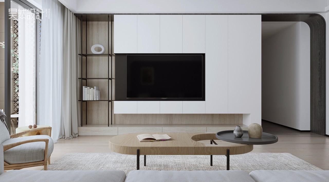 127㎡简约现代风电视背景墙装修效果图