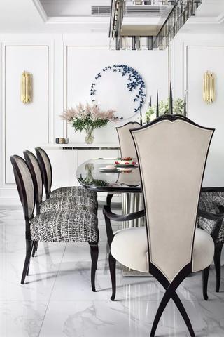 优雅轻奢别墅装修餐桌椅设计图