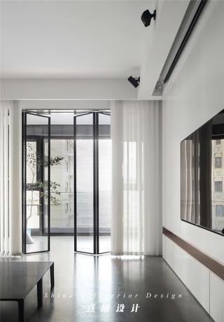 130平极简现代风装修玻璃折叠门设计