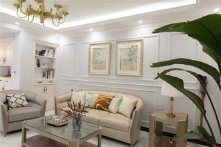 轻奢美式风三居沙发背景墙装修效果图