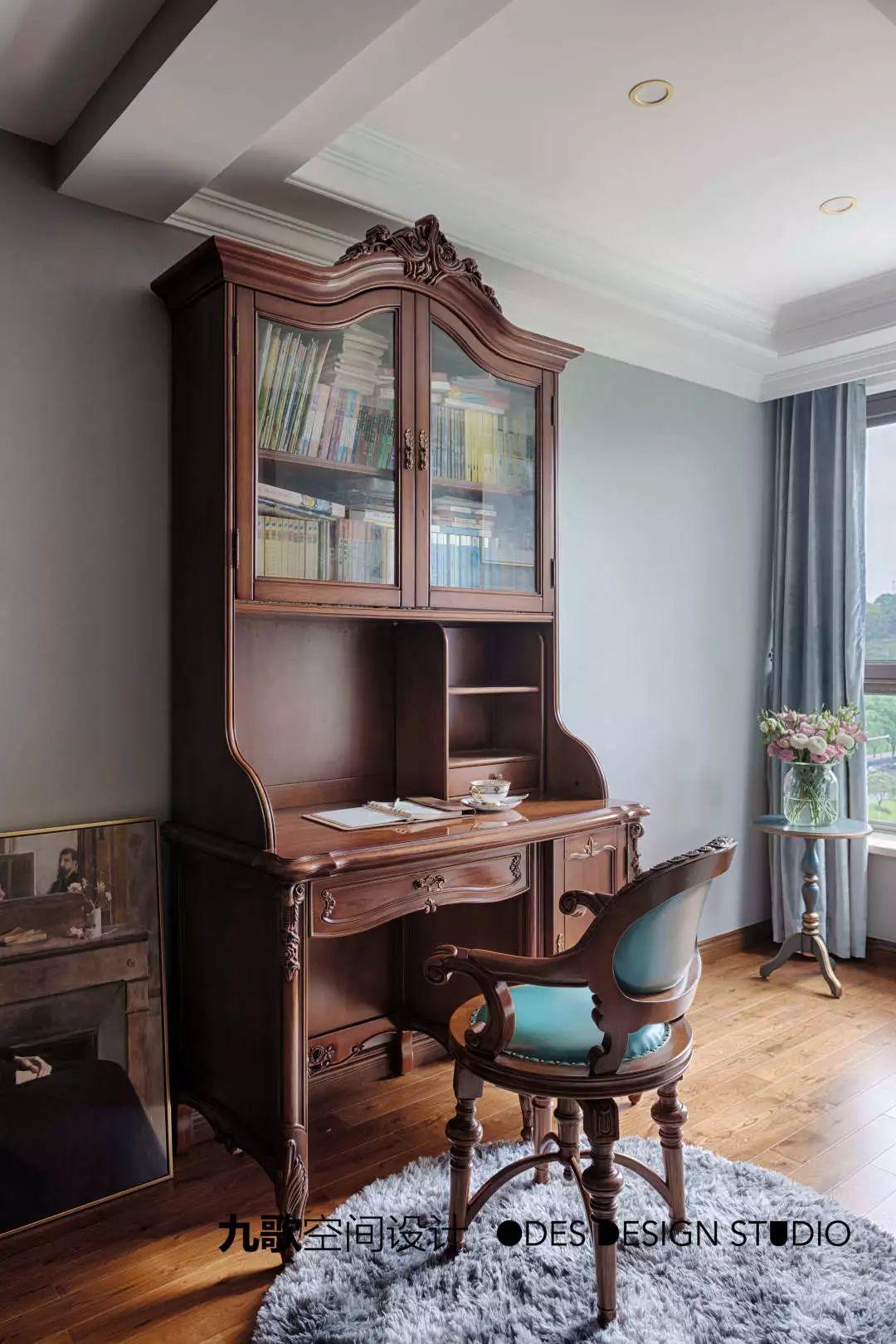 古典美式风格装修书桌设计图