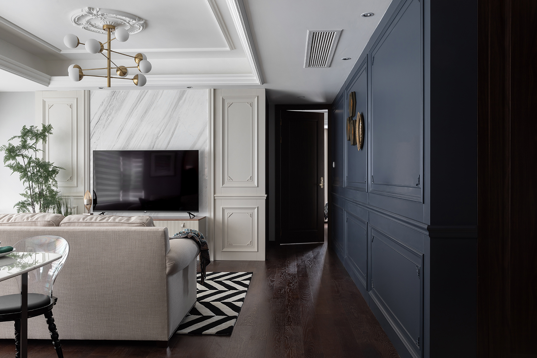 115㎡混搭三居室客厅过道装修效果图