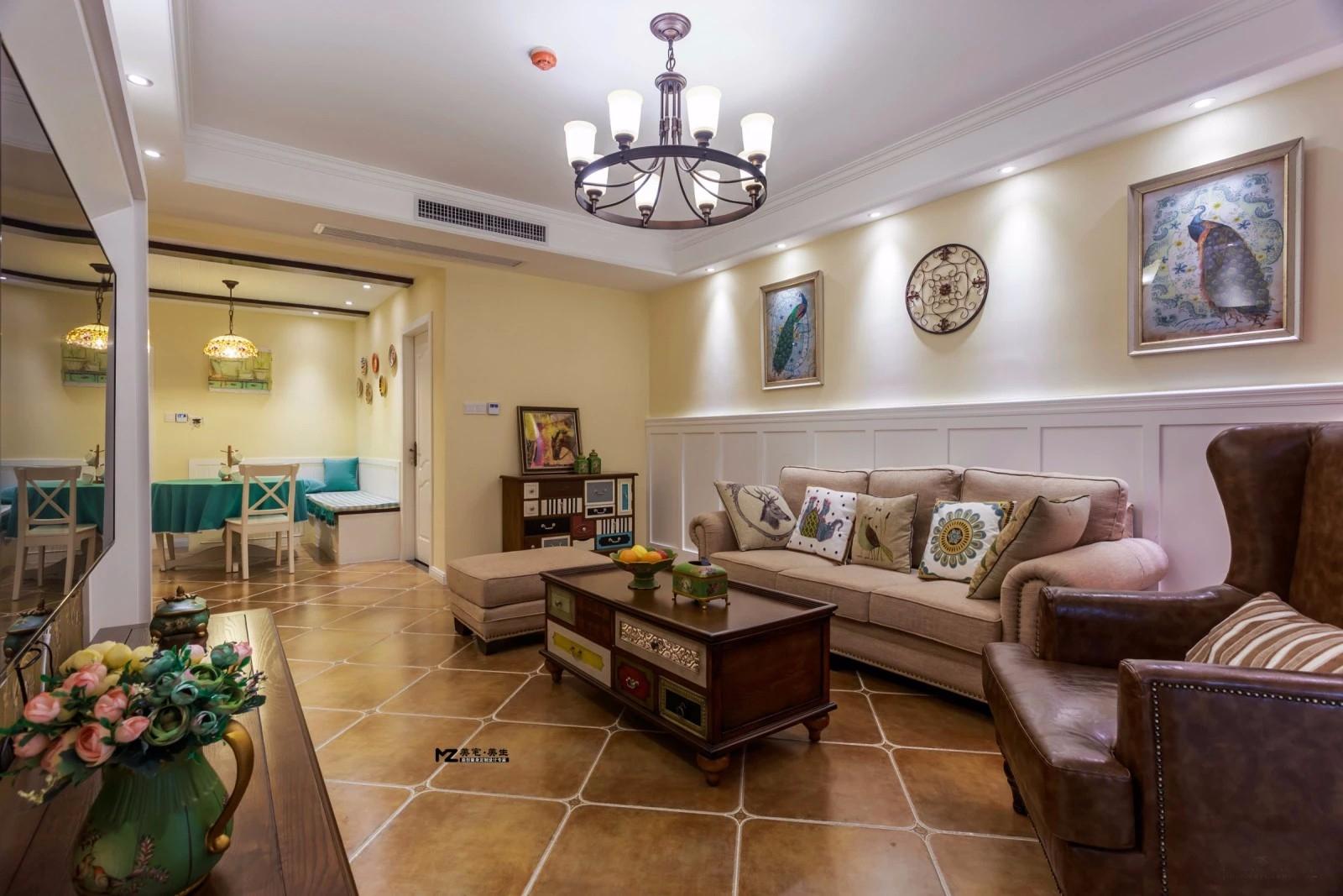 110平美式风格客厅装修效果图