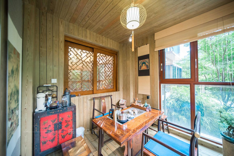 大户型中式风格阳台茶室装修效果图