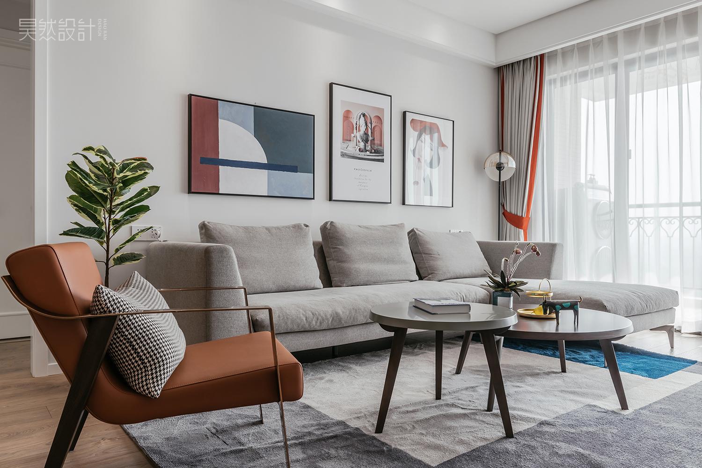 130平现代简约风沙发背景墙装修效果图