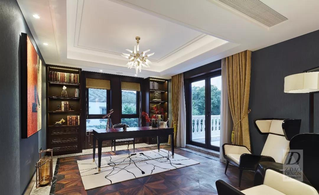 奢华新中式别墅书房装修效果图
