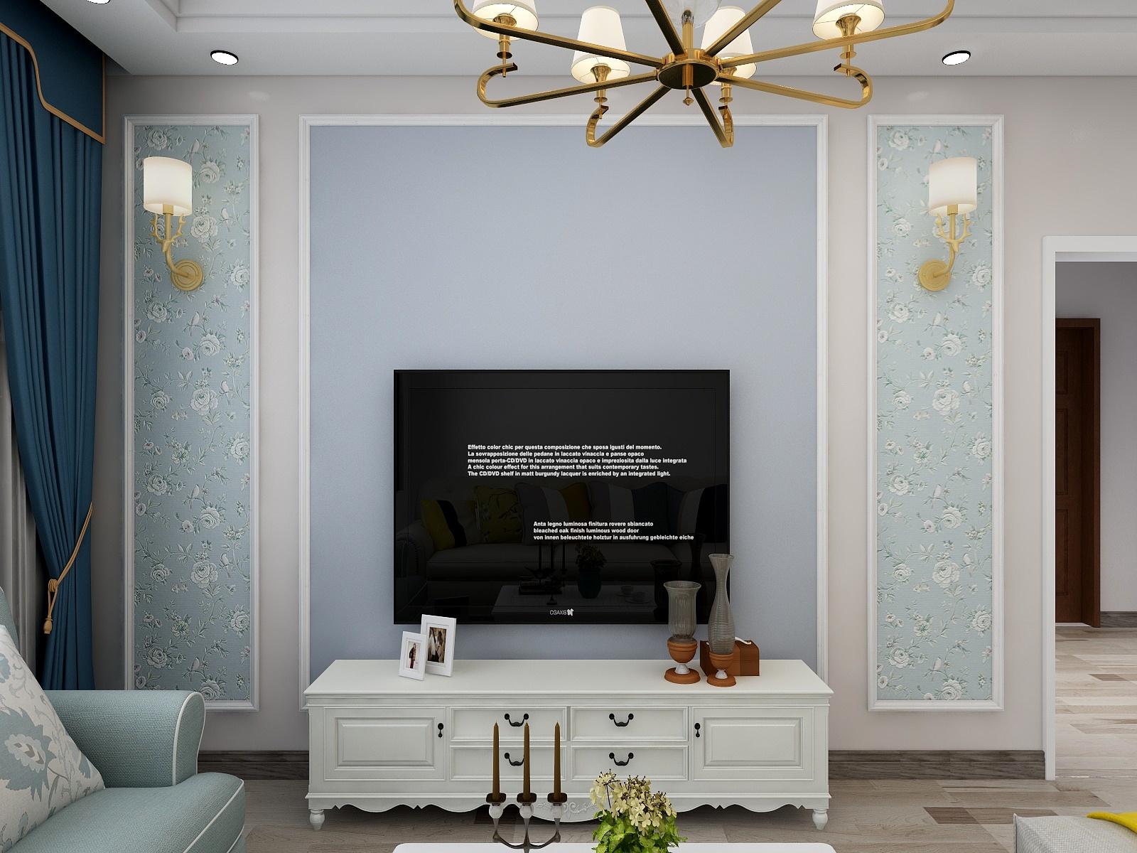 60㎡简美风格电视背景墙装修效果图