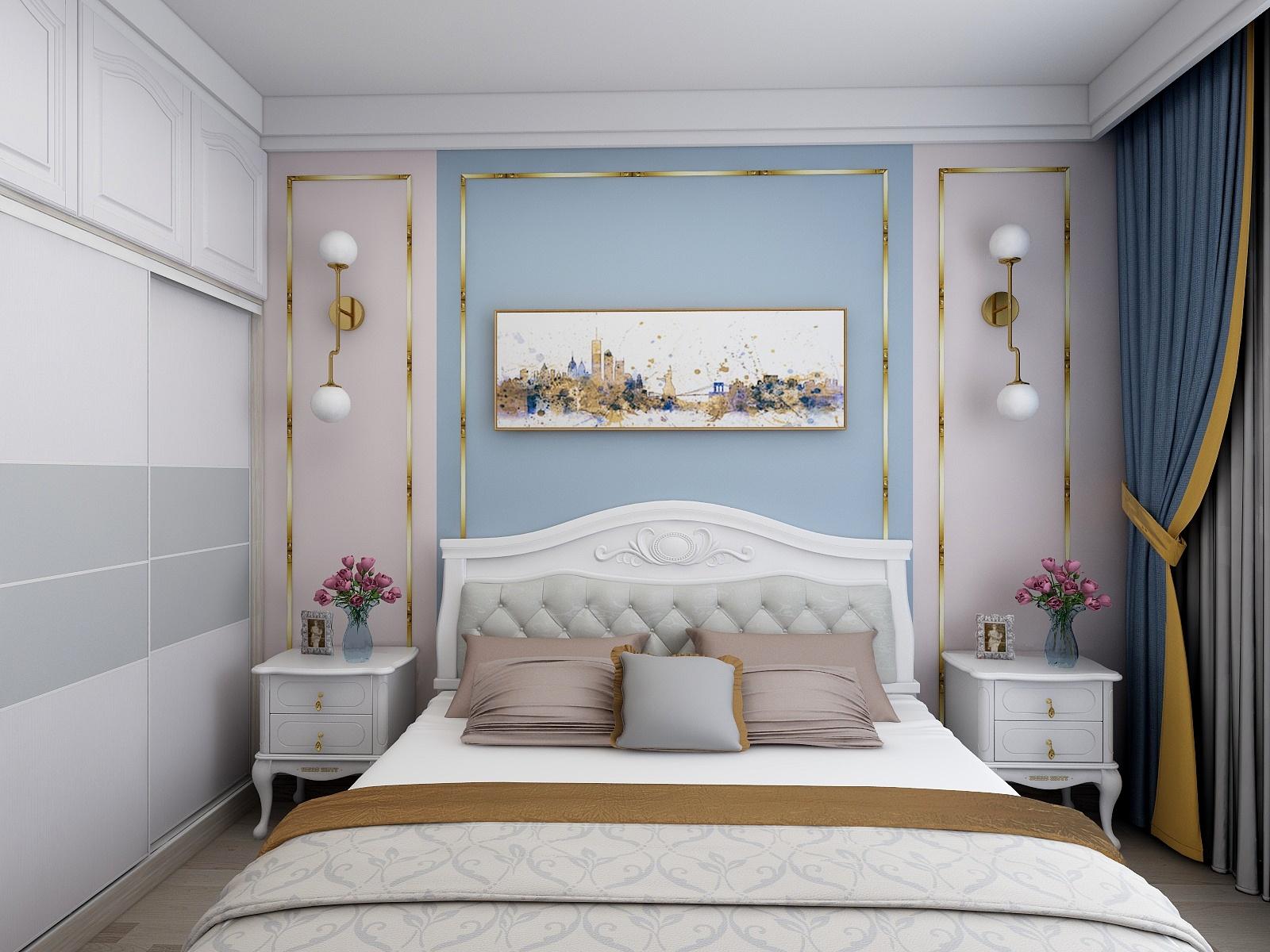 60㎡简美风格卧室背景墙装修效果图