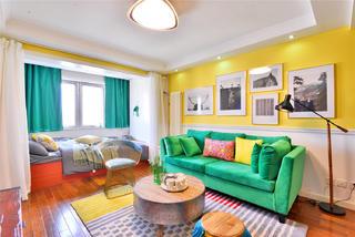 60平一居室公寓沙发背景墙装修效果图
